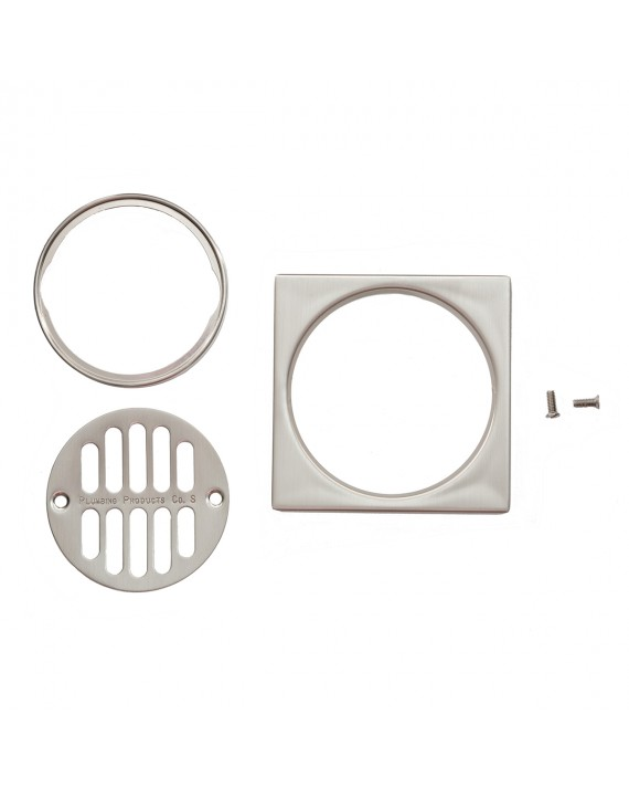 SHOWER DRAIN TRIM SET WITH  TILE SQUARE-BRUSHED NICKEL